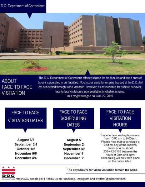 Face to Face Visitation Hours