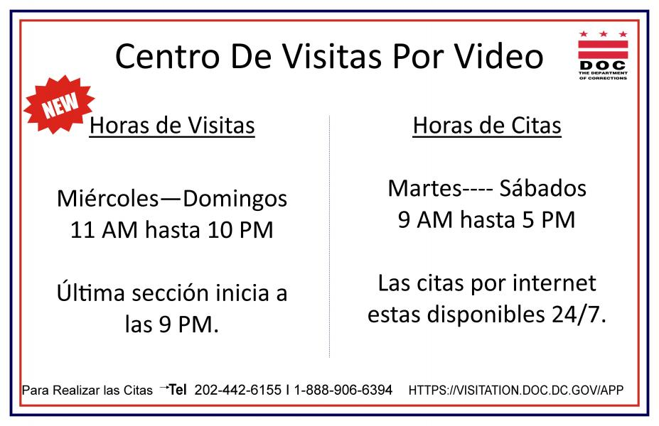 Video visitation hours (Spanish)